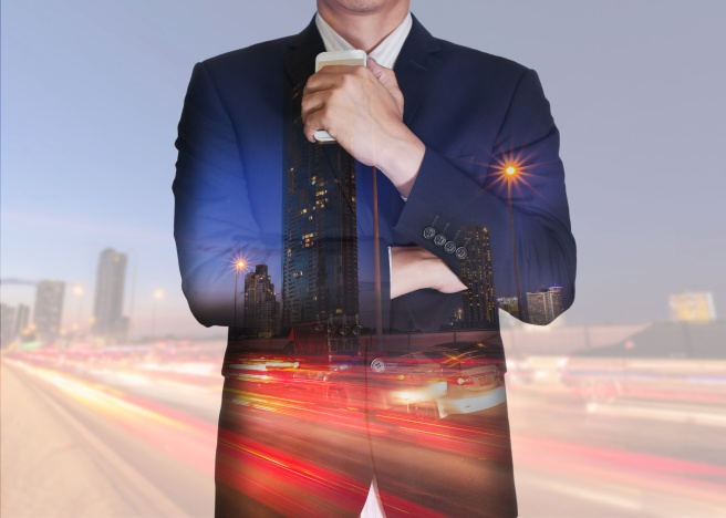 Double exposure of businessman stand up and think idea about bus