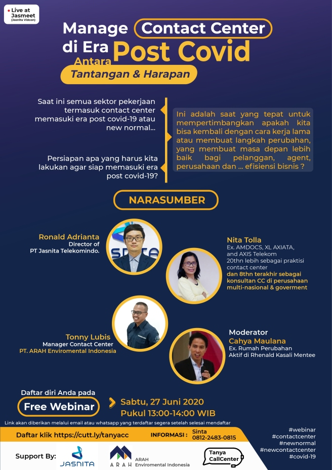 Webinar Manage Contact Center di Era POst Covid Antara Tantangan & Harapan